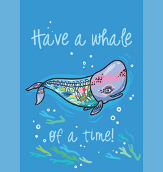 have a whale a time floral anatomy whale in vector image