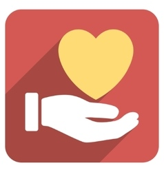 Heart Charity Hand Flat Rounded Square Icon with vector image
