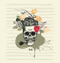 human skull drawn in retro etching style with half vector image