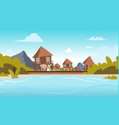 Image a village on shore a lagoon vector