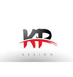 kp k p brush logo letters with red and black vector image