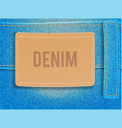 Leather label on light blue denim fabric vector