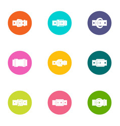 Leather strap icons set flat style vector
