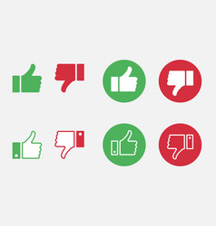 like and dislike icon set thumbs up and thumbs vector image