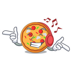 listening music pizza mascot cartoon style vector image