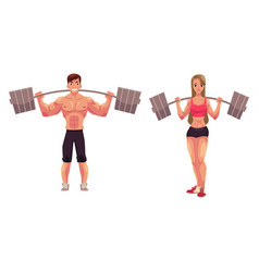 Man and woman bodybuilders weightlifters working vector