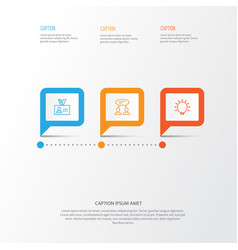 Management icons set collection of great glimpse vector