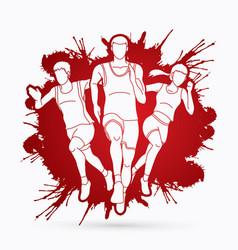 Marathon runner sprinter front view vector