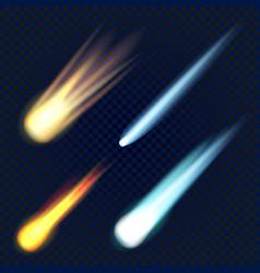 meteorite icon set realistic style vector image