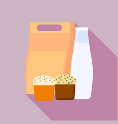 milk bottle lunchbox icon flat style vector image