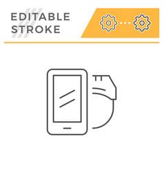 mobile virtual reality line icon vector image