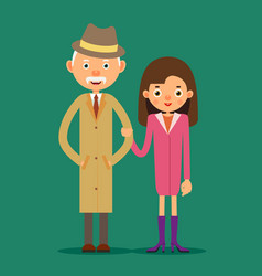 old man and girl vector image