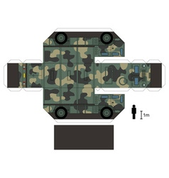 Paper model of a military vehicle vector image