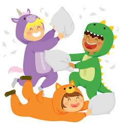 Pillow fight in animal onsies vector