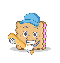 Playing baseball biscuit cartoon character style vector