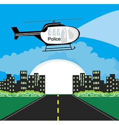 Police helicopter patrolling the city at night vector image