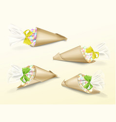 Realistic set of paper cone bags vector