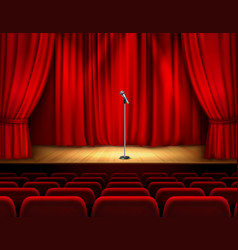 realistic theater stage with microphone vector image