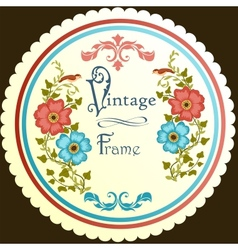 Retro floral round label vector image