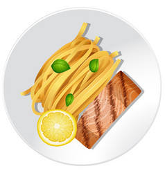 Salmon and pasta on white plate vector