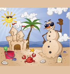 sand snowman cartoon character on a tropical beach vector image