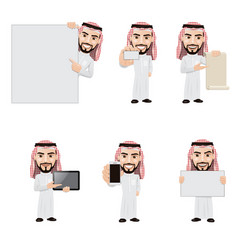 set arabian man character in 6 different vector image