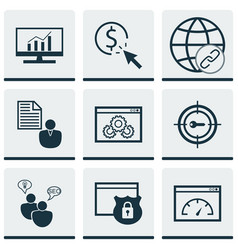 Set of 9 seo icons includes loading speed ppc vector