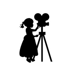 Silhouette girl makes movies film camera vector