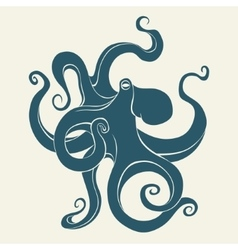 Silhouette octopus template for labels vector