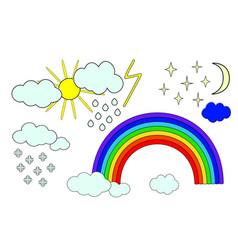sky with sun clouds rainbow and rain snow moon vector image