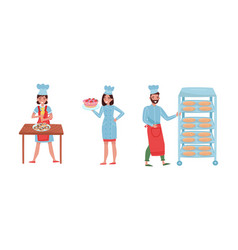 Smiling baker characters baking bread and making vector