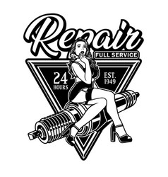 spark plug pin up girl hold wrench vector image