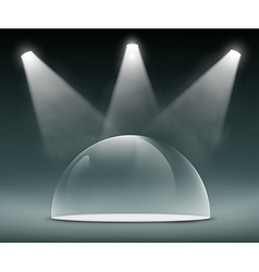 Spotlights illuminate the glass dome vector