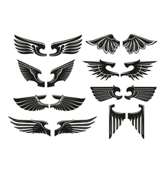 Spread heraldic wings black icons vector