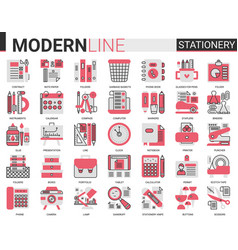 stationery red black complex flat line icon vector image