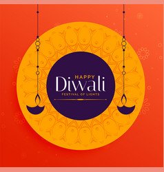 Stylish happy diwali indian festival card design vector