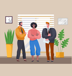 three businessmen standing in office enjoying a vector image