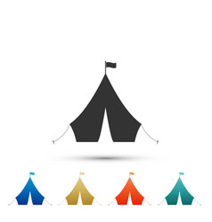 tourist tent with flag icon on white background vector image
