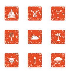 Tranquillity icons set grunge style vector