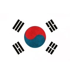 True proportions South Korea flag with texture vector