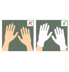 Two images with hands with and without gloves vector