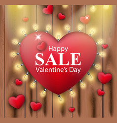 valentines day sales card red heart and lights vector image
