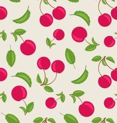Vintage Seamless Wallpaper of Cherries with Green vector image