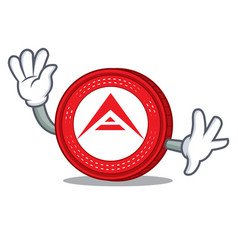 waving ark coin character cartoon vector image