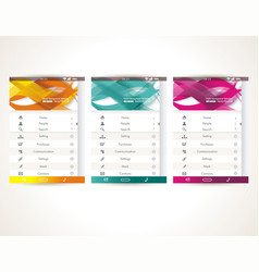 web user interface elements menu mobile apps vector image