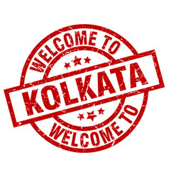Welcome to kolkata red stamp vector