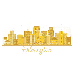 wilmington usa city skyline golden silhouette vector image