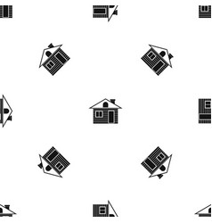 Wooden log house pattern seamless black vector