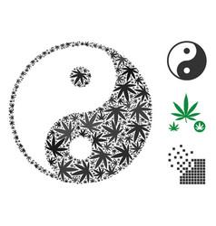 Yin yang collage of cannabis vector