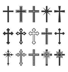 christian cross icons set on white background vector image
